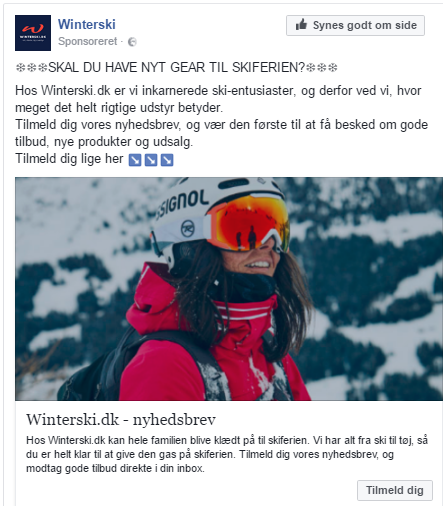 Winterskis lead ad annonce